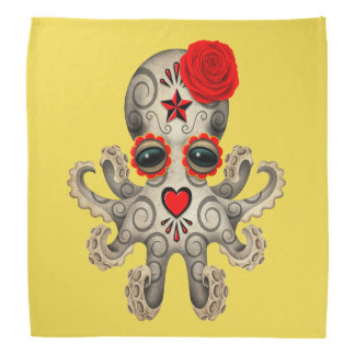 Red Day of the Dead Baby Octopus Bandana
