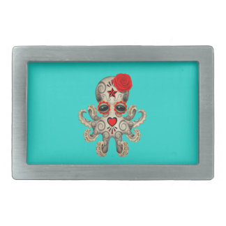 Red Day of the Dead Baby Octopus Belt Buckles