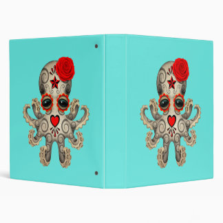Red Day of the Dead Baby Octopus Binders