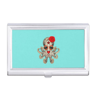 Red Day of the Dead Baby Octopus Business Card Holder