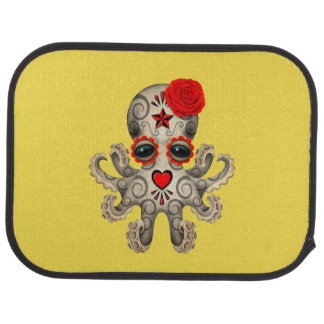 Red Day of the Dead Baby Octopus Car Mat