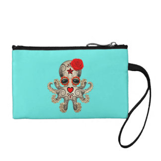Red Day of the Dead Baby Octopus Coin Purse