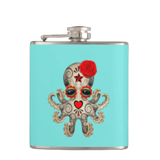 Red Day of the Dead Baby Octopus Hip Flask