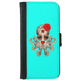 Red Day of the Dead Baby Octopus iPhone 6 Wallet Case