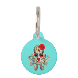 Red Day of the Dead Baby Octopus Pet Name Tag