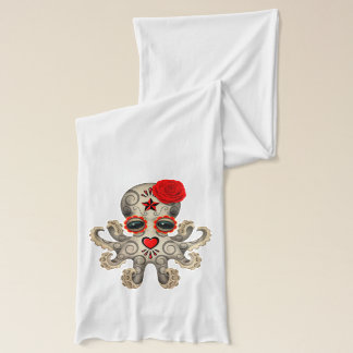Red Day of the Dead Baby Octopus Scarf Wrap