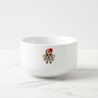 Red Day of the Dead Baby Octopus Soup Bowl With Handle