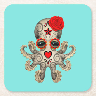 Red Day of the Dead Baby Octopus Square Paper Coaster