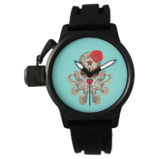 Red Day of the Dead Baby Octopus Watch