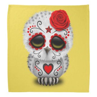 Red Day of the Dead Baby Owl Bandana