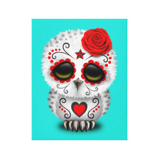 Red Day of the Dead Baby Owl Canvas Print