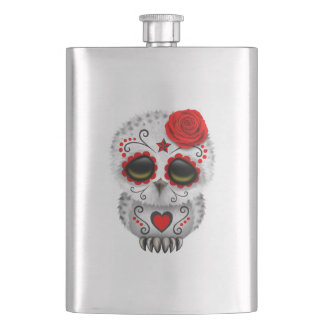 Red Day of the Dead Baby Owl Hip Flask