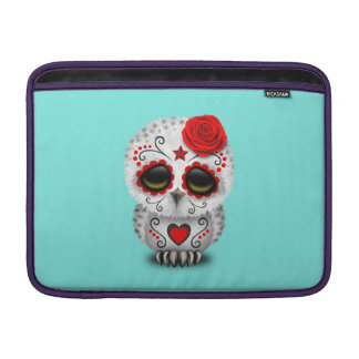 Red Day of the Dead Baby Owl MacBook Sleeve