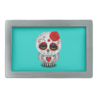 Red Day of the Dead Baby Owl Rectangular Belt Buckle