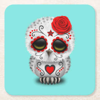 Red Day of the Dead Baby Owl Square Paper Coaster