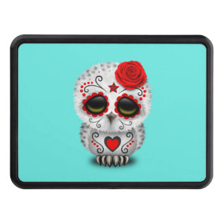 Red Day of the Dead Baby Owl Trailer Hitch Cover