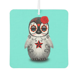 Red Day of the Dead Baby Penguin Car Air Freshener