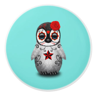 Red Day of the Dead Baby Penguin Ceramic Knob