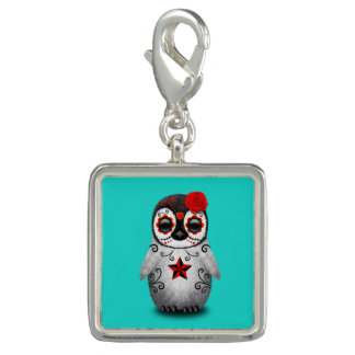 Red Day of the Dead Baby Penguin Charm