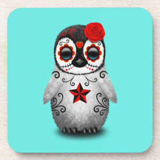 Red Day of the Dead Baby Penguin Coaster