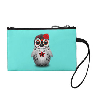 Red Day of the Dead Baby Penguin Coin Purse