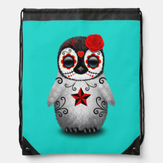 Red Day of the Dead Baby Penguin Drawstring Bag