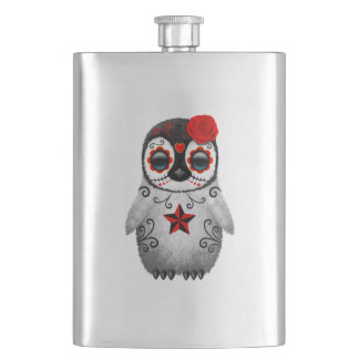 Red Day of the Dead Baby Penguin Hip Flask