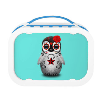 Red Day of the Dead Baby Penguin Lunch Box