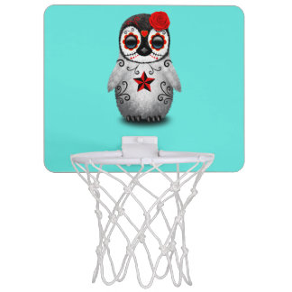 Red Day of the Dead Baby Penguin Mini Basketball Hoop