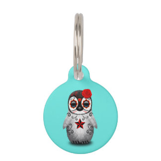 Red Day of the Dead Baby Penguin Pet Tag