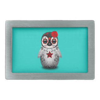 Red Day of the Dead Baby Penguin Rectangular Belt Buckle