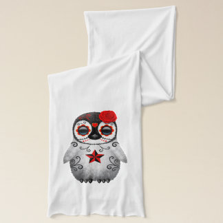 Red Day of the Dead Baby Penguin Scarf