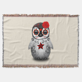 Red Day of the Dead Baby Penguin Throw Blanket