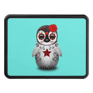 Red Day of the Dead Baby Penguin Trailer Hitch Cover