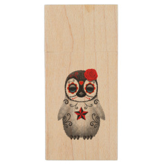 Red Day of the Dead Baby Penguin Wood USB Flash Drive
