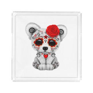 Red Day of the Dead Baby Polar Bear Acrylic Tray