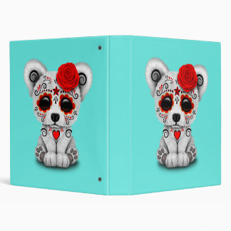 Red Day of the Dead Baby Polar Bear Binders