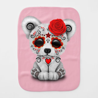 Red Day of the Dead Baby Polar Bear Burp Cloth