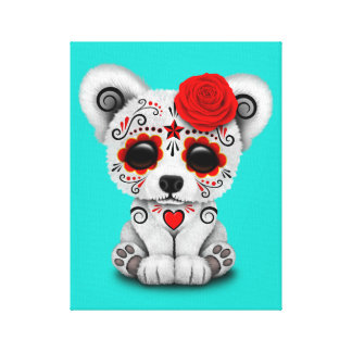 Red Day of the Dead Baby Polar Bear Canvas Print