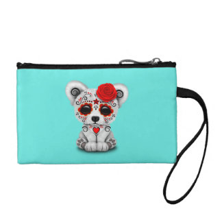 Red Day of the Dead Baby Polar Bear Coin Purse