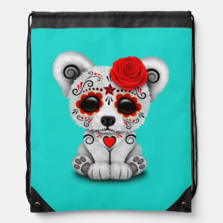 Red Day of the Dead Baby Polar Bear Drawstring Bag