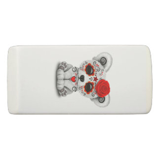 Red Day of the Dead Baby Polar Bear Eraser