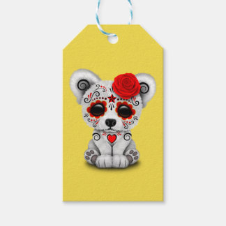 Red Day of the Dead Baby Polar Bear Gift Tags