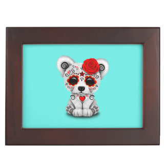 Red Day of the Dead Baby Polar Bear Keepsake Box