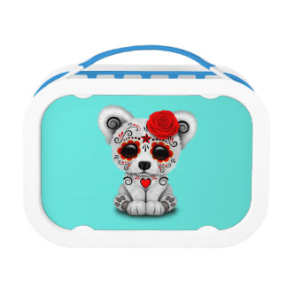 Red Day of the Dead Baby Polar Bear Lunch Box