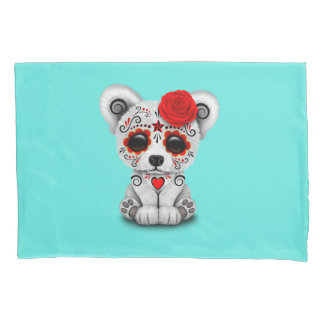Red Day of the Dead Baby Polar Bear Pillowcase