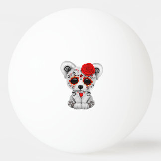Red Day of the Dead Baby Polar Bear Ping Pong Ball