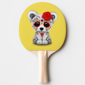 Red Day of the Dead Baby Polar Bear Ping-Pong Paddle