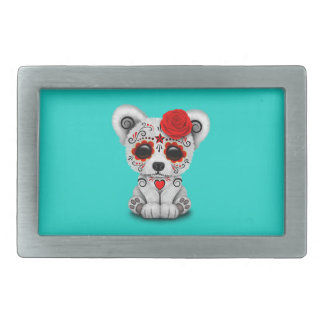 Red Day of the Dead Baby Polar Bear Rectangular Belt Buckle