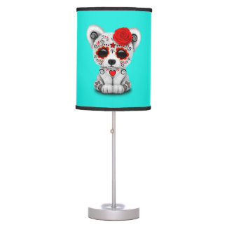 Red Day of the Dead Baby Polar Bear Table Lamp